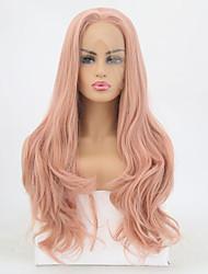 billige -Syntetisk Lace Front Parykker Bølget Stil Mellemdel Blonde Front Paryk Pink Orange Syntetisk hår 20-24 inch Dame Justerbar / Varme resistent / Fest Pink Paryk Lang Naturlig paryk