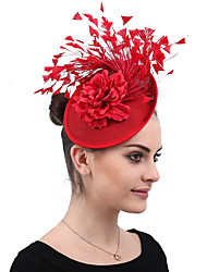 cheap -Organza / Feathers Outswear / Fascinators / Headdress with Feather / Bowknot / Floral 1 Wedding / Outdoor Headpiece