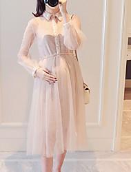 お買い得  -女性用 Aライン ドレス ミディ シャツカラー