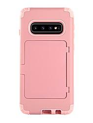 olcso -BENTOBEN Case Kompatibilitás Samsung Galaxy Galaxy S10 Kártyatartó / Ütésálló / Tükör Fekete tok Egyszínű Kemény TPU / PC mert Galaxy S10