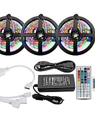 Недорогие -Комплекты светильников KWB 3x5m Лампы RGB полосы 900 Светодиоды SMD2835 8 мм 1 Адаптер 12 В 6a 1 Пульт дистанционного управления 44 ключа RGB с возможностью подключения цветового градиента 100-240 В 1