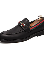 cheap -Men's Novelty Shoes Faux Leather Spring & Summer British Loafers & Slip-Ons Breathable Black / Tassel / Party & Evening