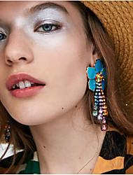 levne -Dámské Vícebarevná Retro styl Visací náušnice Náušnice Kytky Evropský Šperky Červená / Modrá / Bledě růžová Pro Denní 1 Pair