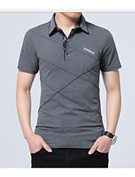 ราคาถูก -สำหรับผู้ชาย เสื้อเชิร์ต สีพื้น สีดำ XXXL