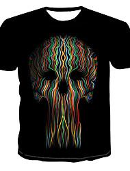 billiga -Tryck, Färgblock / 3D / Dödskalle T-shirt Herr Svart XXXXL
