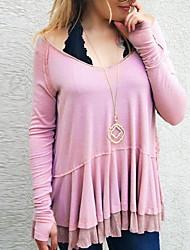 baratos -Mulheres Blusa Sólido Preto XL