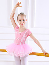 cheap -Kids' Dancewear / Ballet Dresses Girls' Training / Performance Cotton Bow(s) / Lace / Split Joint Short Sleeve Natural Dress