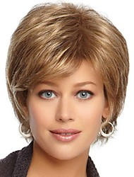 cheap -Synthetic Wig / Bangs Curly Style Side Part Capless Wig Golden Black / Gold Synthetic Hair 12 inch Women's Classic / Women / Synthetic Golden Wig Short Natural Wigs