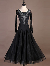 abordables -Danse de Salon Robes Femme Utilisation Spandex / Organza Combinaison / Cristaux / Stras Manches Longues Robe