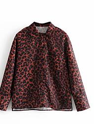 billiga -Tryck, Leopard Skjorta Dam Rubinrött S