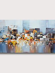 olcso -Hang festett olajfestmény Kézzel festett - Absztrakt Absztrakt tájkép Kortárs Modern Tartalmazza belső keret