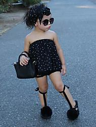 お買い得  -子供 / 幼児 女の子 活発的 / ストリートファッション 水玉 / 波点 ノースリーブ コットン / ポリエステル アンサンブル ブラック