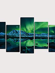 Недорогие -С картинкой Роликовые холсты - Абстракция Пейзаж Классика Modern 5 панелей Репродукции