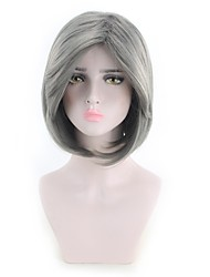 cheap -Synthetic Wig kinky Straight Style Middle Part Capless Wig Dark Gray Grey Synthetic Hair 12 inch Women's Women Dark Gray Wig Short Natural Wigs