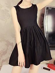 お買い得  -女性用 ベーシック スウィング ドレス - バックレス パッチワーク, ソリッド 膝上