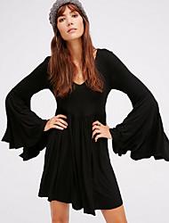 رخيصةأون -فستان نسائي A line أساسي فوق الركبة لون سادة