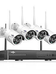 Недорогие -Hiseeu H.265 CCTV System POE NVR kit 8ch 4MP waterproof POE IP camera bullet Home Security camera system outdoor low lux onvif Hiseeu 20 mp IP-камера на открытом воздухе Поддержка