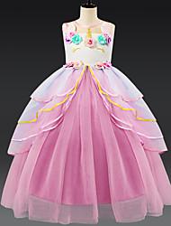 preiswerte -Kinder Mädchen Aktiv / Süß Patchwork Mehrlagig Ärmellos Knielang Kleid Rosa