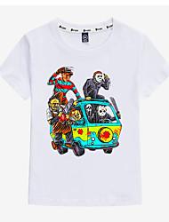 preiswerte -Kinder Jungen Aktiv / Grundlegend Druck Druck Kurzarm Baumwolle / Elasthan T-Shirt Schwarz