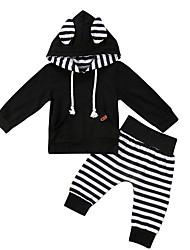 billige -Baby Gutt Aktiv Stripet Langermet Kort Bomull / Spandex Tøysett Svart