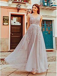 Недорогие -А-силуэт Совок шеи В пол Тюль Платье для подружек невесты с Аппликации от LAN TING Express