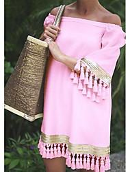 baratos -Mulheres Básico Reto Vestido - Patchwork, Sólido Altura dos Joelhos