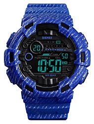 Недорогие -SKMEI Муж. Армейские часы Цифровой силиконовый Синий / Зеленый / Серый 50 m Армия Будильник Секундомер Цифровой На открытом воздухе Мода - Светло-синий Хаки Темно-зеленый Один год Срок службы батареи