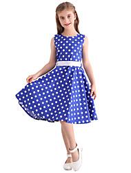 お買い得  -子供 女の子 ヴィンテージ かわいいスタイル 水玉 / 波点 プリント ノースリーブ 膝丈 コットン ドレス ブルー
