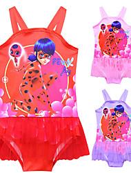 ราคาถูก -ชุดว่ายน้ำ ชุดว่ายน้ำชุดคอสเพลย์ สาวบี สำหรับเด็ก คอสเพลย์และคอสตูม คอสเพลย์ วันฮาโลวีน สีม่วง / แดง / สีชมพู การ์ตูน Printing ตูเล่ Polyster เด็กผู้หญิง วันคริสต์มาส วันฮาโลวีน เทศกาลคานาวาล