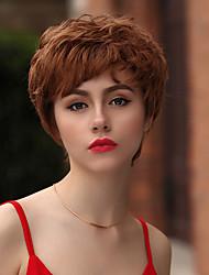billige -Human Hair Capless Parykker Menneskehår Krøllet / Tight Curl Pixie frisure / Frisure i lag / Assymetrisk frisure Varme resistent / Bedste kvalitet / Hot Salg Brun Kort Lågløs Paryk Dame