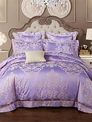 billige -Sengesett Ensfarget / Luksus Polyester / Bomull Mønstret 4 delerBedding Sets