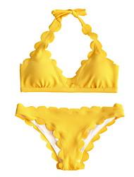 Χαμηλού Κόστους -Γυναικεία Ρουμπίνι Ανθισμένο Ροζ Κίτρινο Tankini Μαγιό - Μονόχρωμο Τ M L Ρουμπίνι