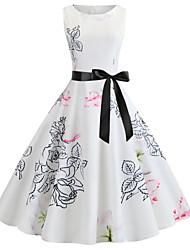 رخيصةأون -فستان نسائي A line أساسي بقع طول الركبة ورد