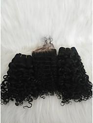 halpa -Letitetty Kihara Kudotut Aidot hiukset 3 osainen punokset Musta 14 inch 14 tuumaa extention / Youth Deitti Malesialainen