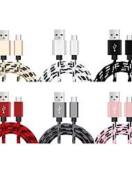 Недорогие -Micro USB Кабель <1m / 3ft Быстрая зарядка Нейлон Адаптер USB-кабеля Назначение Samsung