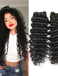hesapli -3 Paket Düz Brezilya Saçı Derin Dalga İşlenmemiş Gerçek Saç İnsan saç örgüleri Paketi Saç Gerçek Saç Postişleri 8-28 inç Doğal Renk İnsan saç örgüleri Yumuşak Moda Kalın İnsan Saç Uzantıları Kadın's
