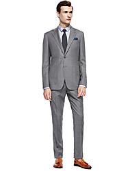 preiswerte -Schwarz / Dunkelmarine / Colored Gray Solide Reguläre Passform Anzug - Fallendes Revers Einreiher - 2 Knöpfe