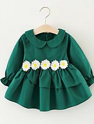 זול -שמלה שרוול ארוך פרחוני בנות פעוטות