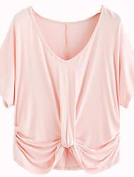 levne -Dámské - Jednobarevné Tričko, Plisé Světlá růžová M