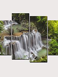 cheap -Print Rolled Canvas Prints - Landscape Floral / Botanical Classic Modern Four Panels