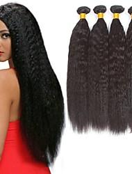 baratos -3 pacotes Cabelo Brasileiro Yaki Liso Cabelo Natural Remy Cabelo Humano Peça para Cabeça Cabelo Humano Ondulado Extensor 8-28 polegada Côr Natural Tramas de cabelo humano Macio Clássico Adorável