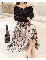 abordables -Femme Mi-long Balançoire Robe Noir M L XL Manches Longues