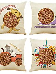 economico -set di 4 cartoon modello di biancheria da lino quadrato decorativo tiro federe per cuscini cuscino del divano copre 18x18