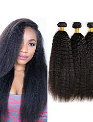 Недорогие -3 Связки Индийские волосы Яки Вытянутые Необработанные натуральные волосы 100% Remy Hair Weave Bundles Головные уборы Человека ткет Волосы Пучок волос 8-28 дюймовый Нейтральный Ткет человеческих волос