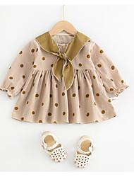 hesapli -Bebek Genç Kız Temel Yuvarlak Noktalı Uzun Kollu Polyester Elbise Haki