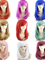 cheap -Synthetic Wig Straight Style Middle Part Capless Wig Ombre White Blue Green Synthetic Hair 22 inch Women's Women Ombre Wig Very Long Natural Wigs