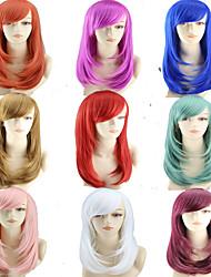 halpa -Synteettiset peruukit Suora Tyyli Keskiosa Suojuksettomat Peruukki Ombre Valkoinen Sininen Vihreä Synteettiset hiukset 22 inch Naisten Naisten Ombre Peruukki Hyvin pitkä Luonnollinen peruukki