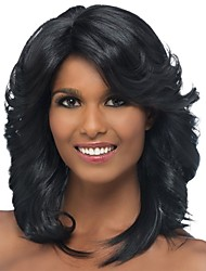 cheap -Synthetic Wig / Bangs Curly / Spiral Curl Style Side Part Capless Wig Black Black / Gold Synthetic Hair 18 inch Women's Classic / Women / Side Part Black Wig Medium Length Natural Wigs