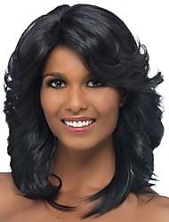 abordables -Pelucas sintéticas / Flequillo Rizado / Curva espiral Estilo Parte lateral Sin Tapa Peluca Negro Negro y Oro Pelo sintético 18 pulgada Mujer Clásico / Mujer / Parte lateral Negro Peluca Longitud