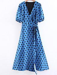 abordables -Femme Midi Chemise Robe Bleu S M L Demi Manches